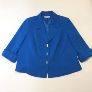 Tahari ASL Womens 18W Blazer Blue Jacket